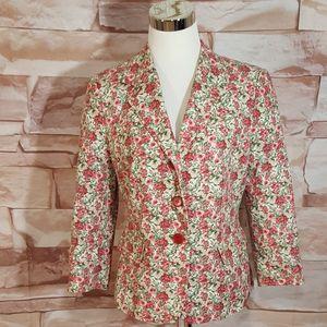 Talbots Pink Floral Cotton Blazer